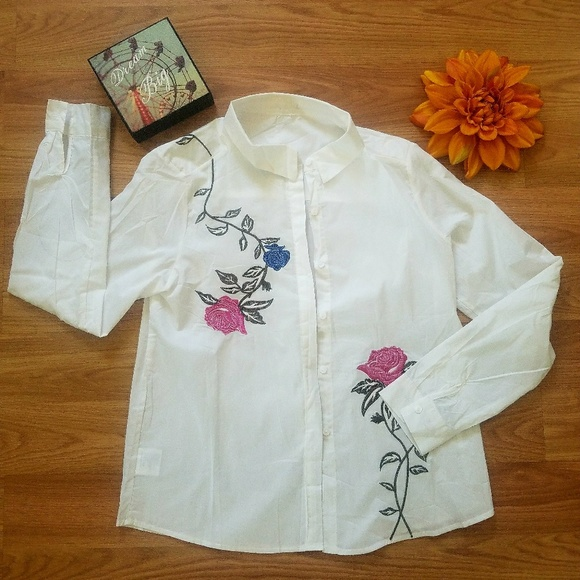 ZaZa Floral embroidery Shirt Top